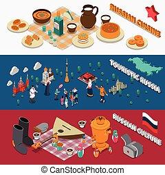 Russia Isometric Touristic Banners - Russian culture symbols...