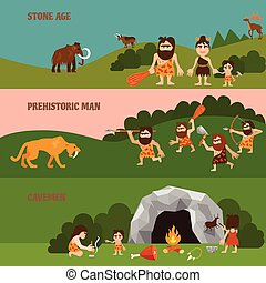 Stone Age Horizontal Banners - Stone age horizontal banners...