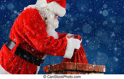 Santa Claus Bag Chimney - Closeup of Santa Claus placing his...