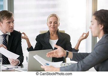 Business negotiation, men arguing, woman meditating -...