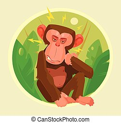 Angry monkey character. Vector flat cartoon illustration