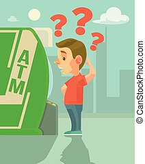Man character try using ATM. Vector flat cartoon...