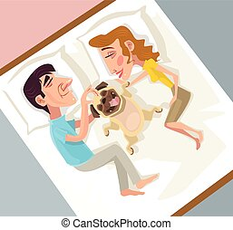 Man and woman love dog child. Vector flat cartoon illustration