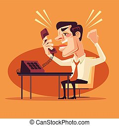 Angry office worker character shouting on phone. Vector flat...
