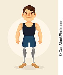 Man character with foot prosthesis. Vector flat cartoon...