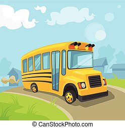 Yellow school bus. Vector flat cartoon illustration