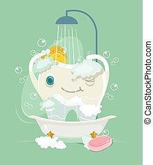 Happy tooth character take shower. Vector flat cartoon illustration