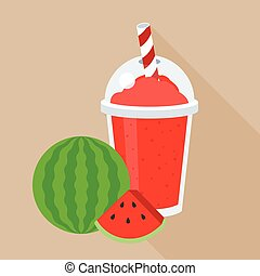 Water melon smoothie or juice in plastic glass, and a piece...