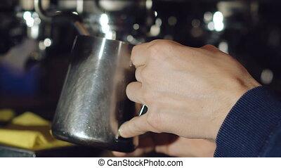 Preparing beverage in coffee maker.