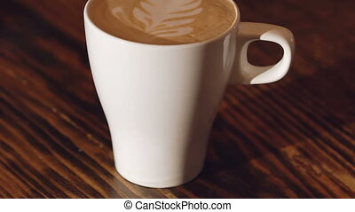 A cup of latte with milk effect