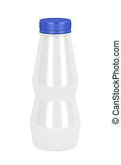 Milk bottle - Plastic bottle for yogurt or milk, isolated on...