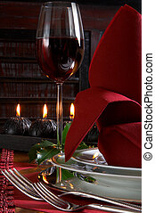 Dinner in black and red - Christmas dinner table detail with...