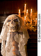 Death with a bridal veil - Death skull wearing the wedding...