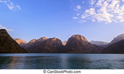Sunset over the lake. Time Lapse. Pamir, Tajikistan - Sunset...