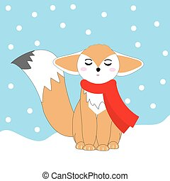 Christmas illustration with cute fennec fox on snow fall...
