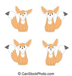 Autumn illustration with cute fennec fox suitable for...