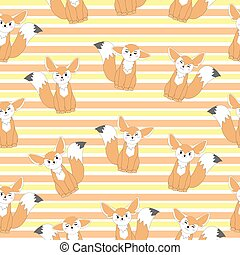 Seamless background of autumn illustration with cute fennec...