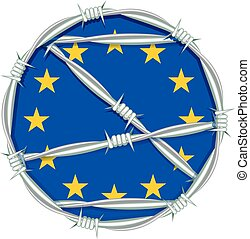 European Union behind barbed wire. Migration - Yellow stars...