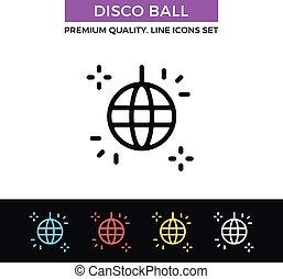 Vector disco ball icon. Party concept. Thin line icon