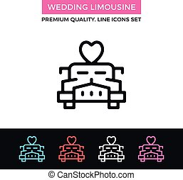 Vector wedding limousine icon. Limo car with heart on roof...