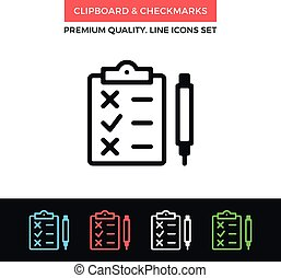 Vector clipboard and checkmarks icon. Thin line icon