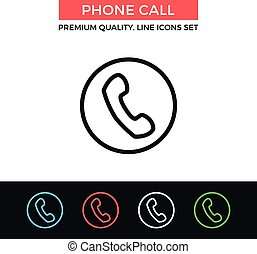 Vector phone call icon. Thin line icon - Vector phone call...