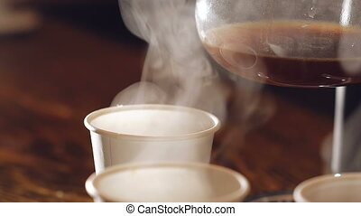 Evaporation of delicious black coffee. Full HD