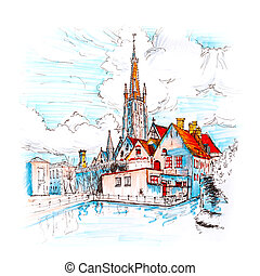 Scenic city view of Bruges canal with beautiful houses -...