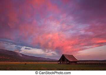 Solitary Barn in Sunset Skies - A pastorale scenery in...