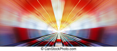 high speed in night - driving at high speed in subway -...