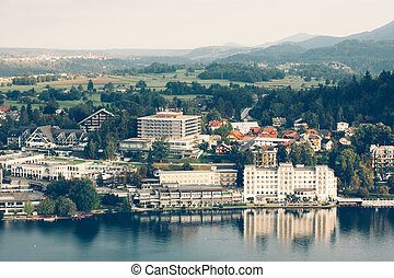 View from the castle to Lake Bled and the surrounding...