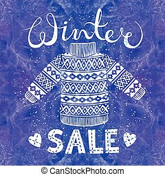 Winter Special banner, label with knitted woolen pullover or...