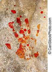 Blood hand on grunge - Grung background with a print of a...