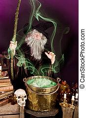 Sorcerers soup - Evil sorcerer casting a spell on green...