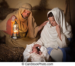 Nativity scene alive - Live reenactment of the christmas...
