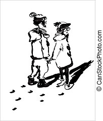 Young Adults Walikng - Sketch of a couple wearing winter...