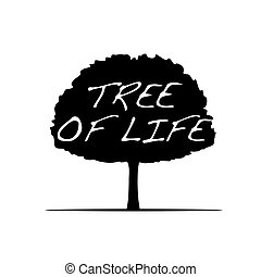 Black Tree and text Tree of Life. Vector Illustration.