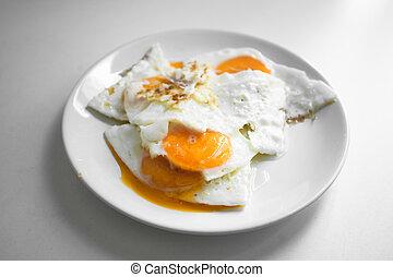 saudável, ovos, fritado, pequeno almoço