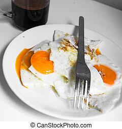saudável, café, fritado, ovos, pequeno almoço