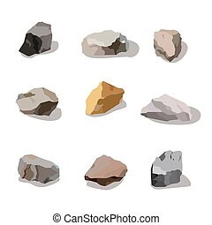 Rocks and stones mountain set. Rock  stone cartoon objects for game ui industry. Icon app design isolated on white. Vector