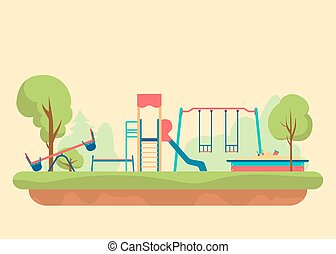 Kids playground flat style. Set of design elements to create...