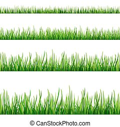 Grass seamless field pattern isolated on white Vector