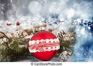 Red Christmas balls over sparkling holiday background