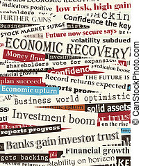 Financial recovery headlines - Background editable vector...