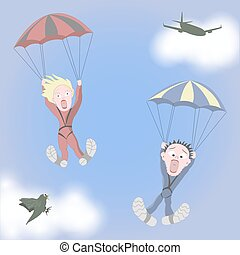 Man and woman are skydiving - Man and woman together are...