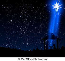 Christmas star on the hut of Jesus Christ, vector art...