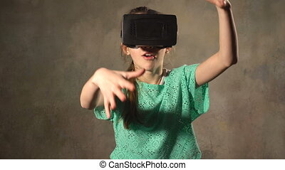Teen young girl with VR headset