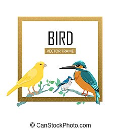Birds Frame Flat Design Vector Illustration - Birds frame...