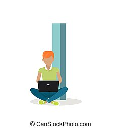 I letter and Boy Sitting with Laptop. ABC Vector