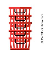 Heap of red shopping baskets. Plastic shopping baskets...